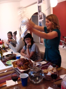 "Voila! Catherine reveals the perfectly roasted turkey at ""American Thanksgiving in Mexico"" - no small feat!"